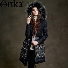 ARTKA הפרווה Parka נשים של חורף מעיל עם ברדס 2018 שחור ארוך Parka הדפסת גבירותיי מעיל יוקרה ברווז מעיל עבור נשים ZK15255D