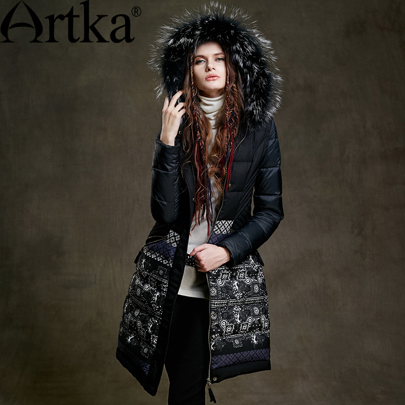 ARTKA Fur Parka Women's Winter Jacket With Hood 2018 Black Long Parka Print Ladies Overcoat Luxury Duck Coat For Women ZK15255D