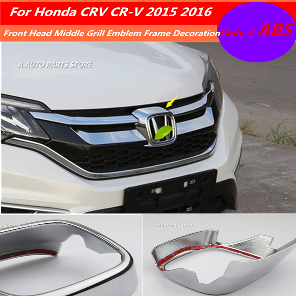 ABS Chrome Front Head Middle Grill Emblem Frame Decoration Molding Cover Kit Trim Accessories For Honda CRV CR-V 2015 2016