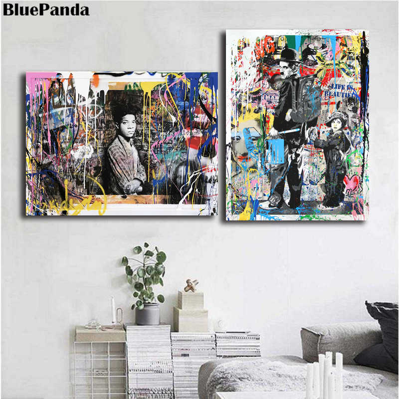 Mr. Brainwash Banksy Chaplin Spray Happiness Poster Oil Painting On Canvas Wall Art Picture For Living Room Bedroom Home Decor