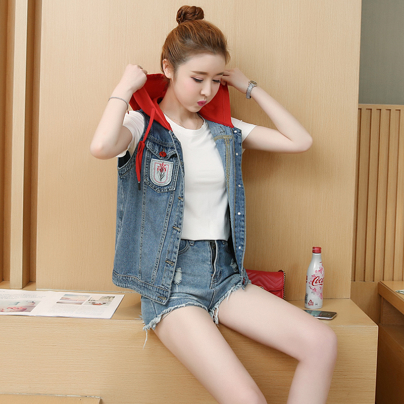 2018 Summer New Large Size Loose Women's Denim Hooded Short Jacket Red Hat Patchwork Plants Pattern Single Breasted Lady Vest Strong Packing