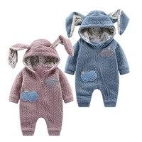 Cute Baby Romper Jesień Zima Newbron chłopiec dziewczyna Kombinezon Zwierząt Królik Style Odzież Z Kapturem Dla Dzieci