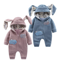 Cute Baby Romper Autumn Winter Newbron Boy Girl Jumpsuit Animal Rabbit Style Baby Hooded Clothing