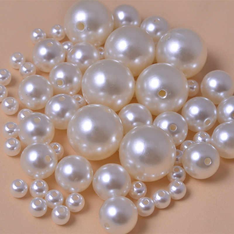 500 teile/los Runde ABS Billige Form Gerade Loch Nachahmung Perlen Beige Perlen Handmade DIY Armband Schmuck Zubehör Machen