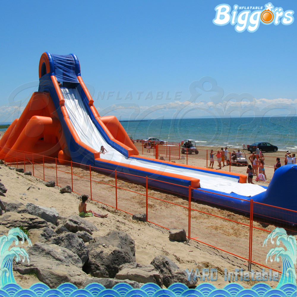 Inflatable Water Slide To Rent: Outdoor Giant Beach Inflatable Water Slide For Business