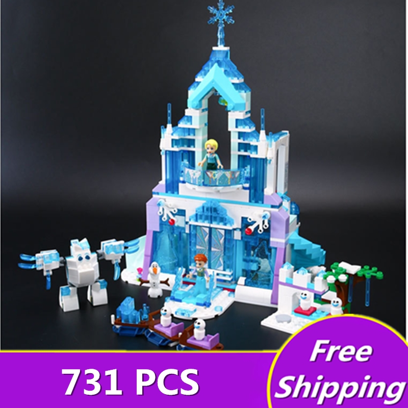 Lepin 25002 Anna Elsa Snow Queen Elsa's Sparkling Ice Castle Building Toys Blocks Brick Compatible with legoingly Toys gift туфли детские 25002 р26 кожа карамель розовый ean 4606363295402