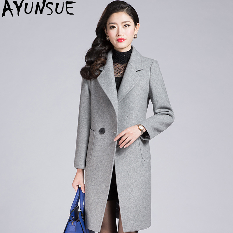 AYUNSUE Winter Coat Women Plus Size Wool Jacket Long Woolen Coat Female Woolens Overcoat Sobretudo Casacas Para Mujer KJ219