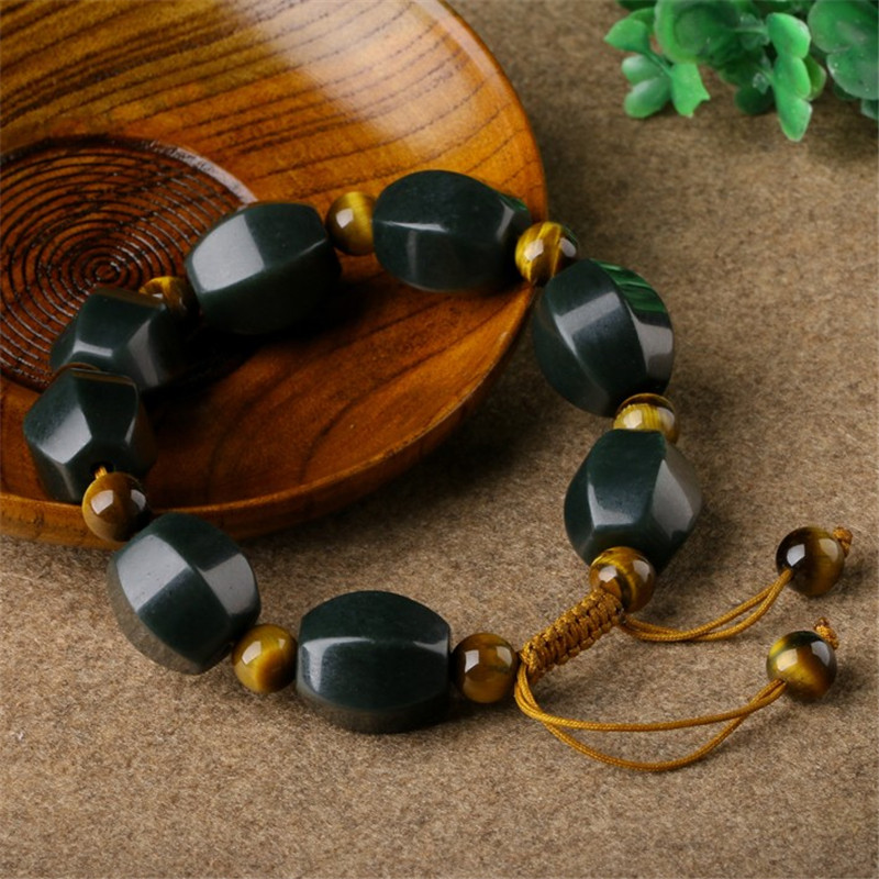 New Natural Dark Green Hetian Stone Bracelet With Opals Stone Round Beads Women Men\'s Gift Bracelets Nephrite Qing Jades Jewelry