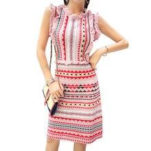 5e4a392002b58dd Мода взлетно-посадочной полосы Женщины оборками трикотажные платья в  радужную полоску эластичные сапоги до колена платье длиной .