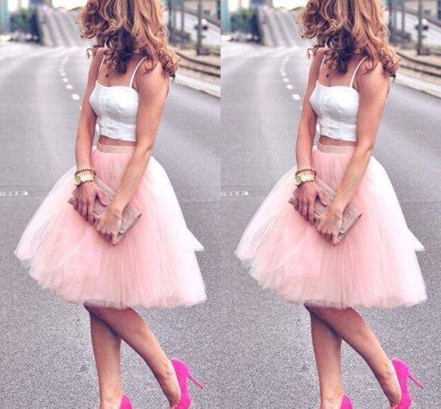 250c7e23f € 24.05 8% de DESCUENTO|Encantadora falda de tul rosa hasta la rodilla para  mujer a la moda falda tutú Color sólido falda barata femenina 2017 ...