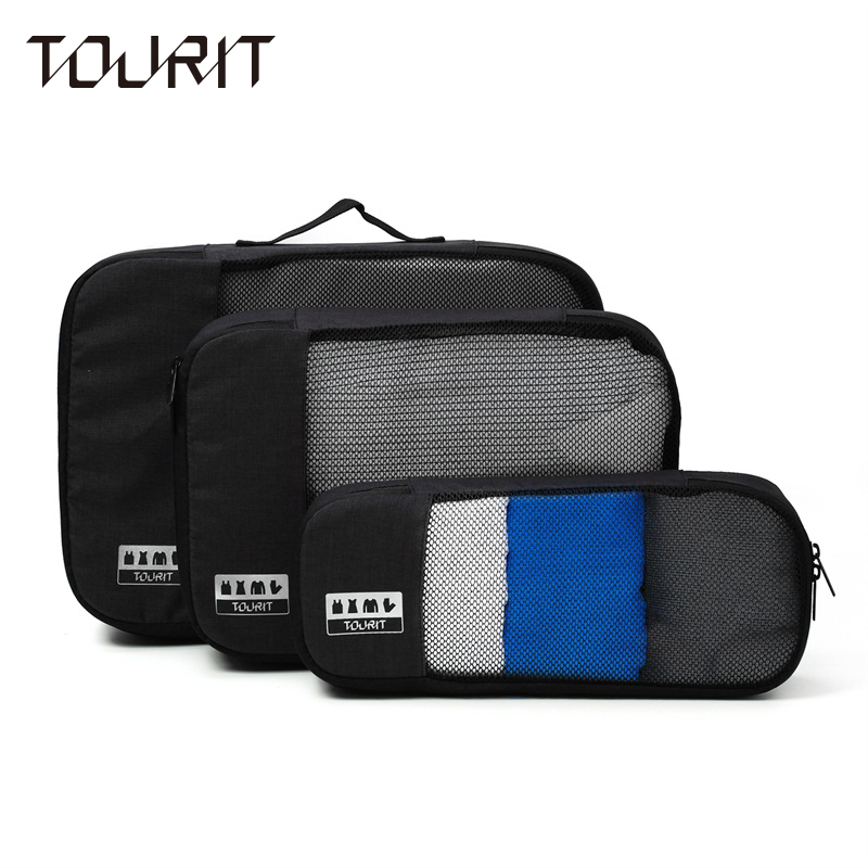 TOURIT Travel Bags 3 Pcs/Set Unisex Polyester Packing Cubes For Clothes Travel Bags For Shirts Waterproof Duffle Bag Organizers bagsmart 7 pcs set packing cubes travel luggage packing organizers unisex weekend luggage bag travel organizers with laundry bag