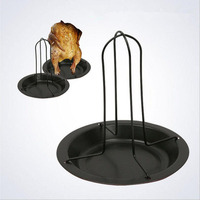 1set Carbon Steel Chicken Roaster Rack With Bowl Non Stick Pans BBQ Accessories Barbecue Grilling