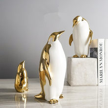 Hot Gold-plated Penguin Family Porcelain Decoration Home Decorations Crafts Ceramic Crafts Electroplating Valentine's Gift(China)
