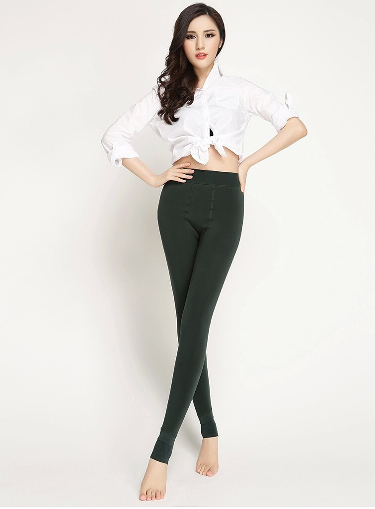 CHRLEISURE New Winter Thick Velvet Pants Female Warm Outer Wear High Waist Pants Were Thick Stretch Pants Stepped Foot legging 16