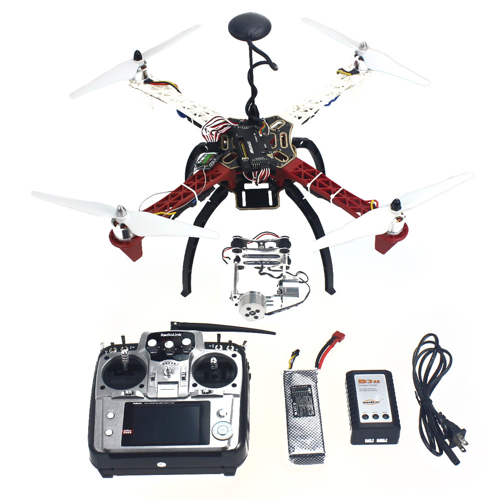 F02192-R 4-axle Aircraft Quadrocopter Helicopter RTF F450-V2 Frame GPS APM2.8 Aerial FPV PTZ AT10 TX Battery