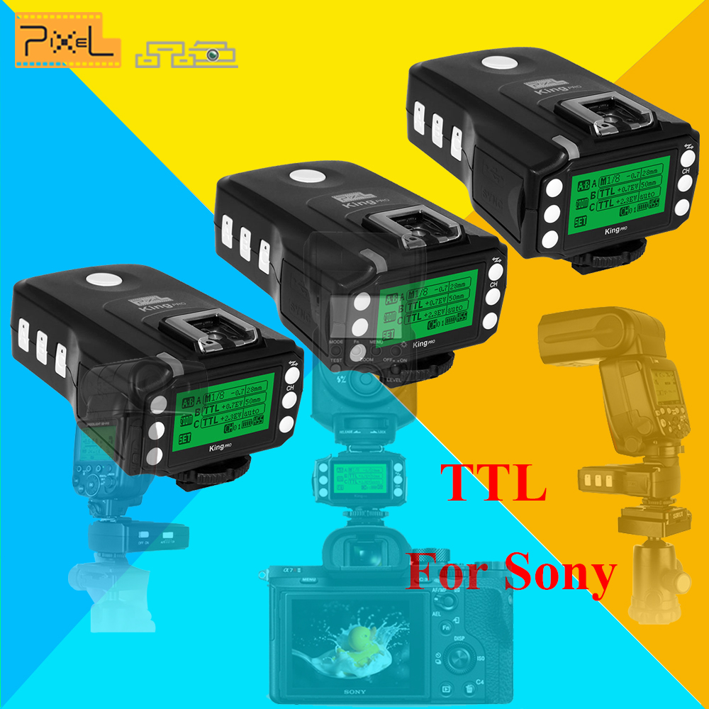 3x PIXEL KING PRO For Sony MI Shoe Camera TTL HSS 1/8000S LCD Flash Trigger Control Canon Nikon Speedlite On King Pro X Receiver pixel x800s standard gn60 hss ttl flash speedlite 2pcs king pro 2 4g flash trigger transceivers for sony a7 a7s a7r a7rii