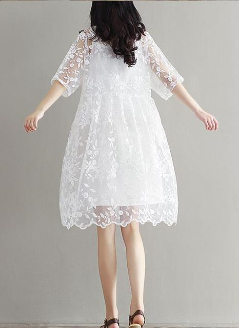Fancy Lace White Embroidery Summer Maternity Dress