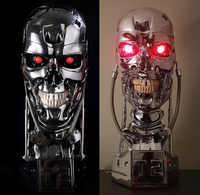 [TOP] Replica Resin Terminator T800 1:1 Scale Skull Endoskeleton Lift-Size Bust Figure light LED EYE T-800 T2 statue model