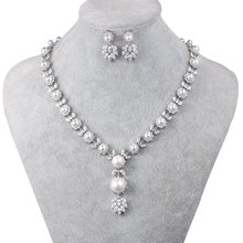 WEIMANJINGDIAN Simulated Shell Pearl and Cubic Zirconia CZ Crystal Necklace & Earring Jewelry Set for Wedding Bridal Jewelry