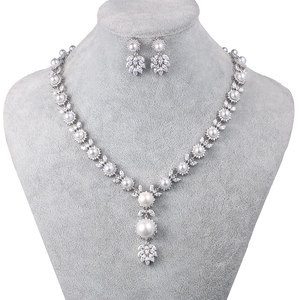 Image 1 - WEIMANJINGDIAN Simulated Shell Pearl and Cubic Zirconia CZ Crystal Necklace & Earring Jewelry Set for Wedding Bridal Jewelry
