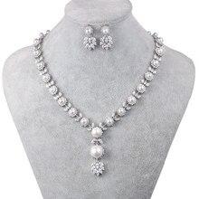 WEIMANJINGDIAN collar de perlas de concha de imitación y circonita cúbica, collar de cristal y conjunto de joyas de pendientes para boda, joyería nupcial