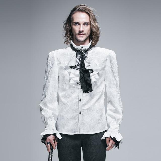 Moda Nobles Largo Mangas Aristocrat Victoriano Medieval Palacio de Encaje Hombres Cravat Tie Tuxedo Blusas Gótico Europeo Camisas