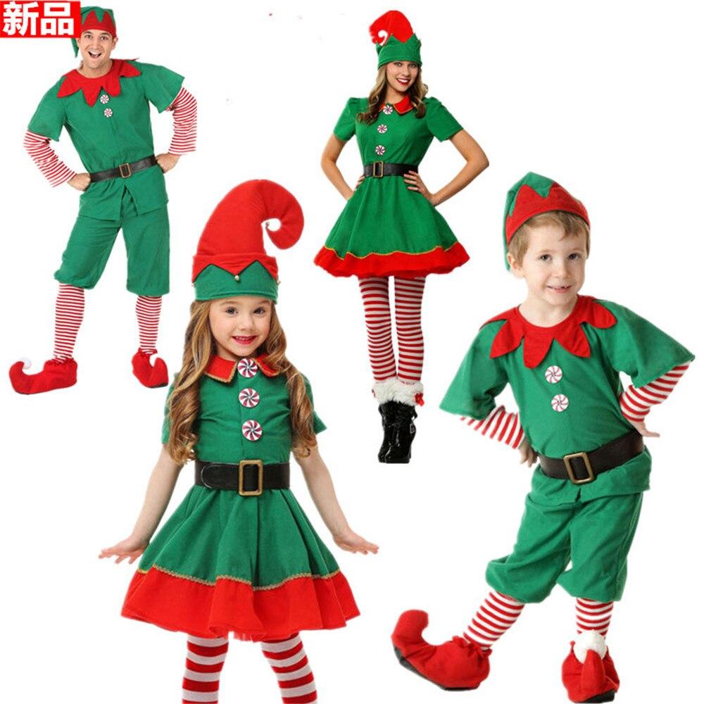 Kids Girls Boys Men Women Family Suit Costume Santa Elf Christmas Fancy Dress