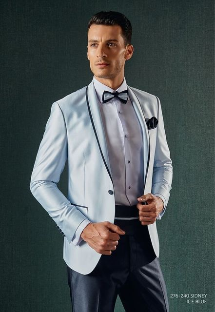 Latest Coat Pant Designs Light Blue Satin Shawl Lapel Groom Men Suit ...