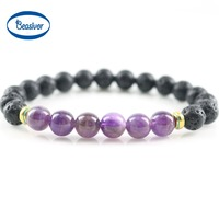 New Design 8mm Black Lava Stone Jewelry Natural A Grade Purple Crystal Beads Stretch Energy Yoga Gift Strand Bracelets