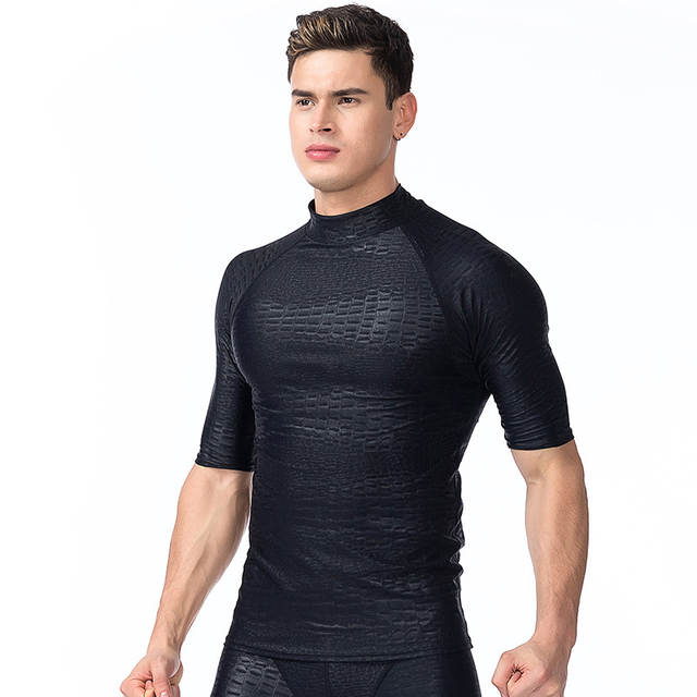 24609aee2f6 2017 Plus Size Surfing Swimming Tops Men Beach Sun UV Protection Swimwear  Rash Guard Man Short