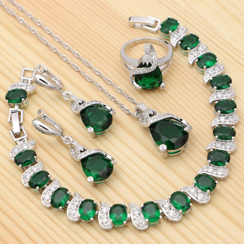 925 Silver Jewelry Sets For Women Green Cubic Zirconia Water Drop Ring Bracelet Necklace Pendant Earrings