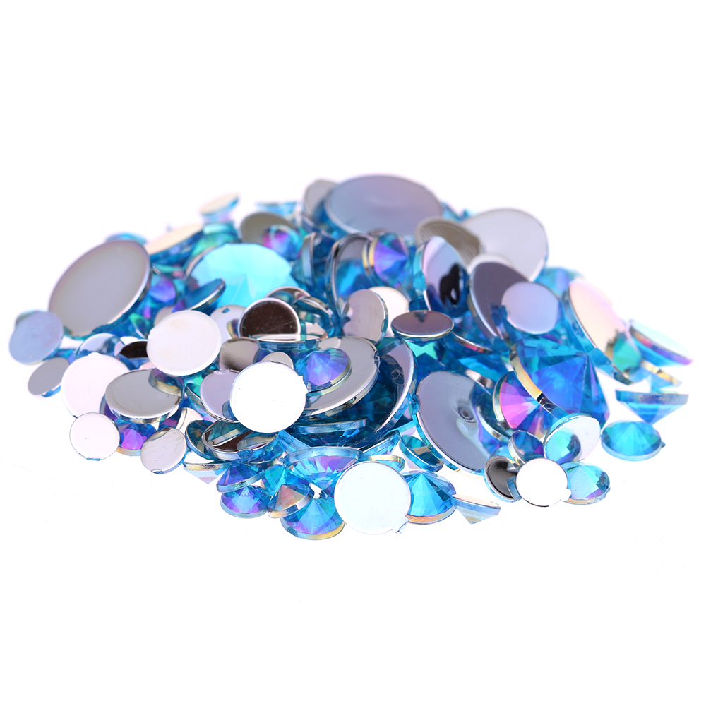 4mm 5mm 6mm 10mm And Mixed Sizes Aquamarine AB Acrylic Rhinestones For Nails Design Crystal 3D Nail Art Glitter Decorations