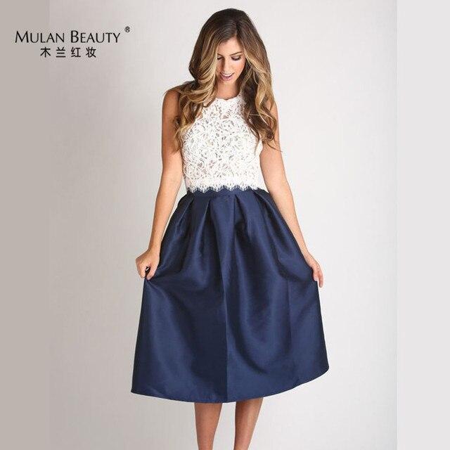 ea913e623 Charming Saia Navy Blue Satin A Line Knee Length Skirts Womens Midi Custom  Made