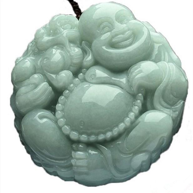 45x49x8mm TJP Natural jadeite jade buddha maitreya Yu Pei necklace pendant for women Mysterious protection pendants jade tjp natural myanmar jadeite longfeng pair pendant double happiness dragon phoeni jade pendant for women and men