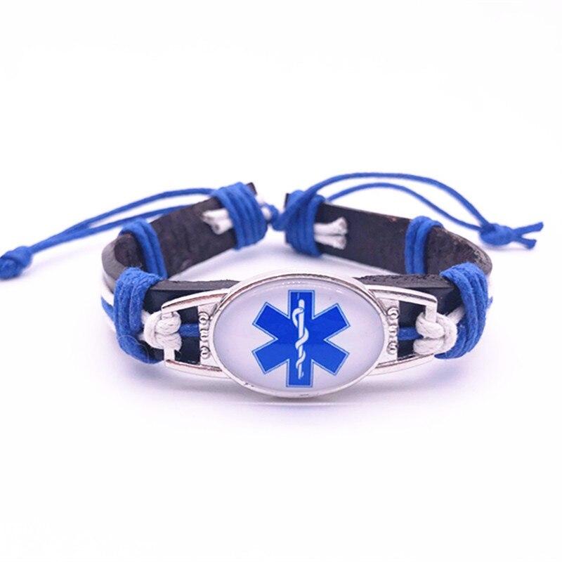 EMT Emergency Medical Genuine Leather Bracelets & Bangles 25*18mm Glass Cabochon Bracelet For Men Women Unisex Jewelry Gifts