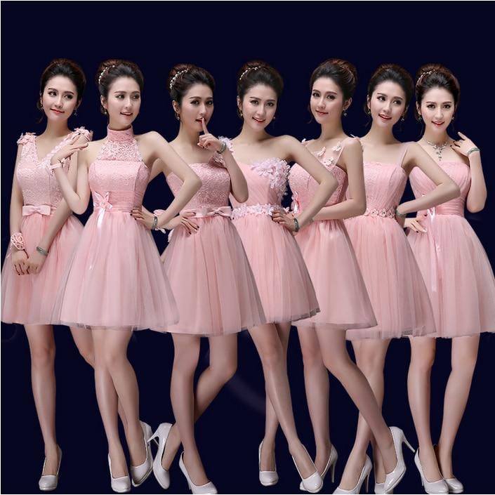 Rosa claro vestido de dama de honor damas de honor vestidos cortos ...