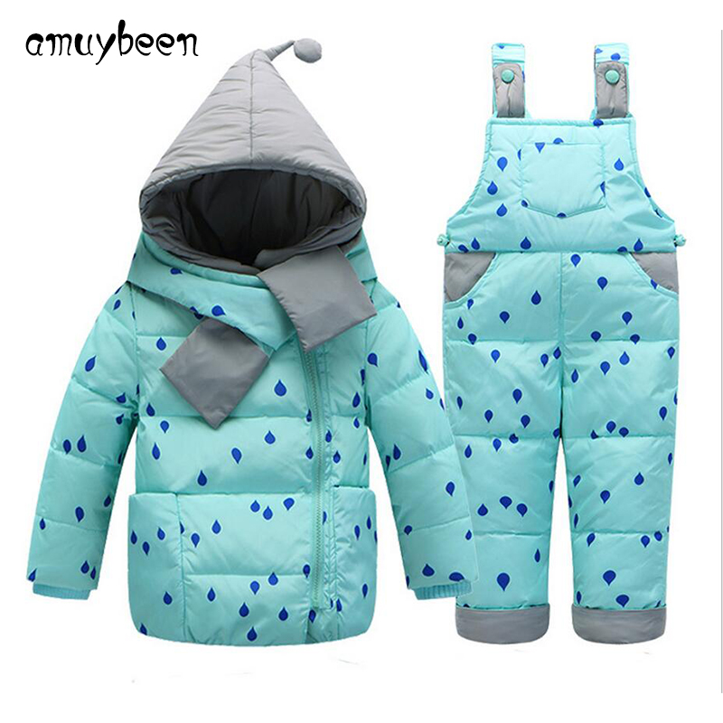 2016 New snowsuit down coat baby winter children clothes clothing set thicken toddlers warm hooded feather fashion outerwear fashion girl thicken snowsuit winter jackets for girls children down coats outerwear warm hooded clothes big kids clothing gh236