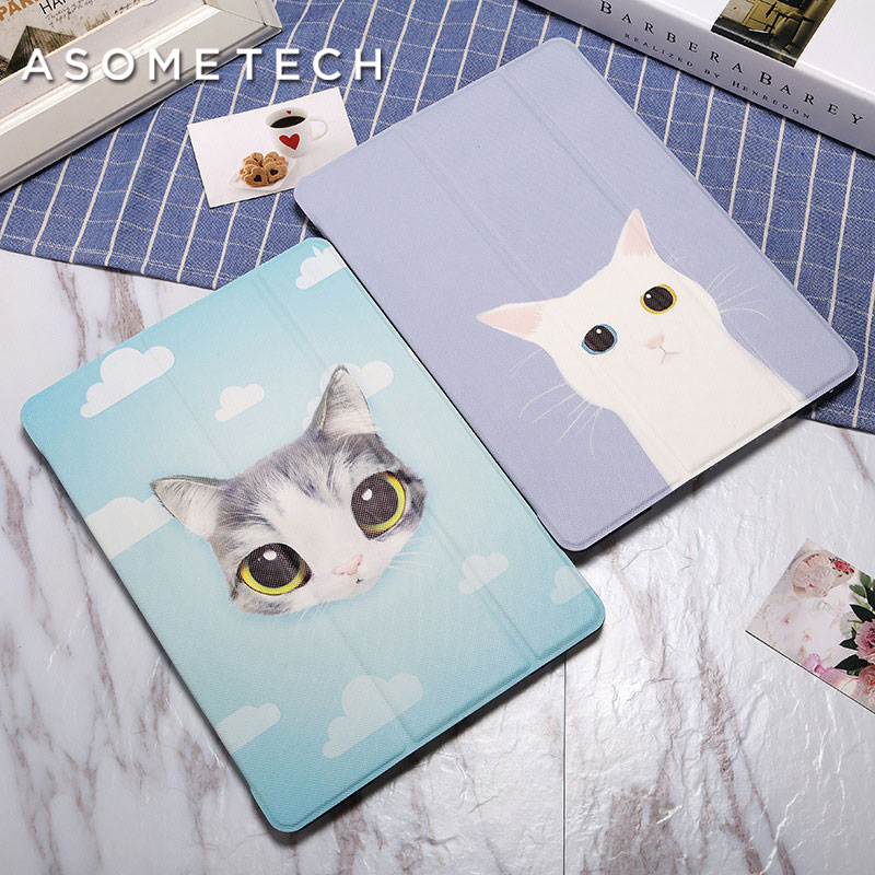 Lovely Cute big Eyes Cat Case For 2017 New iPad 9.7 Painted Stand Back Cover For iPad 2 air 1 Mini Cartoon Wake Up Folio Fundas светильники уличные эра садовый светильник sl rsn27 elf