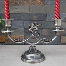 Европейский Креативный Ретро Ангел металлические подсвечники 2 лампы свечи фонари подсвечники канделябры Винтаж для дома ZT166