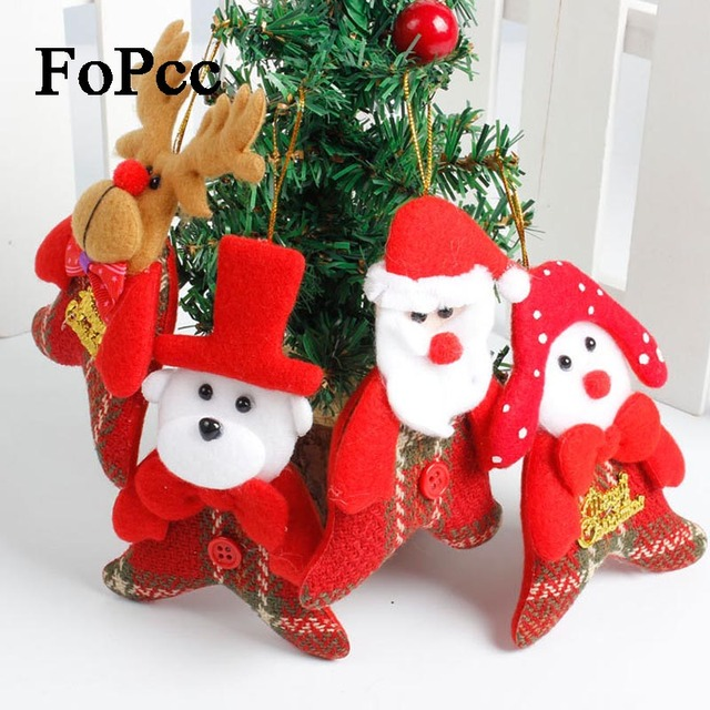 4PCS Santa Claus Snowman Elk Christmas Tree Pendant Non-Woven Christmas Party Decoration For Home Decor Xmas New Year Ornament