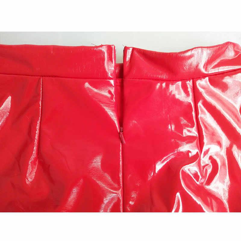 2019 frauen sexy mini elegante bodycon latex rock hohe taille bleistift PU patent leder rock schwarz büro kurze röcke weibliche