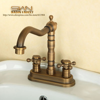 Antique Brass Dual Cross Handle Bathroom Lavatory Vessel Sink Basin Faucet Mixer Tap 2211001