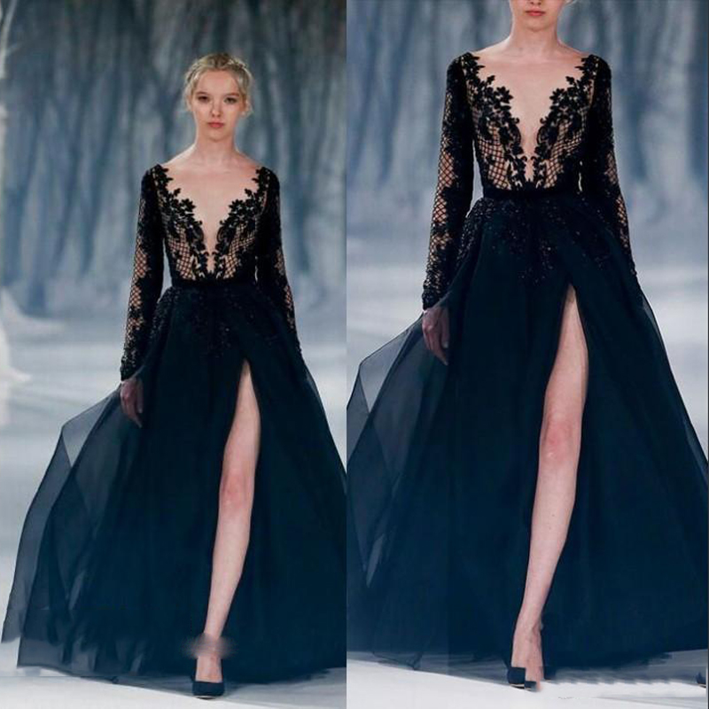 cad7544e2f71 Sexy Deep V Neck Lace Evening Dresses Black High Spite Long Sleeve A Line  Evening Gowns Floor Length Lace Chiffon Evening Dress-in Evening Dresses  from ...