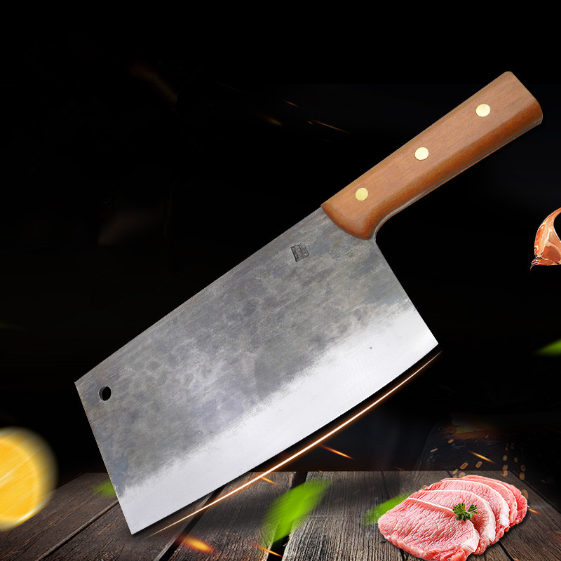 Us 4445 44 Offtraditional Wood Handle Hand Held Steel Kitchen Meat Cutter Blacksmith Forging Slicing Knives Chinese Style Chef Cleaver Knife In
