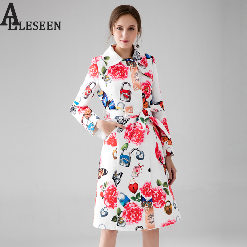 2018 Women's Rose Print White Trench New Fall Winter Full Sleeve Turn Collar Luxury Lock Jacquard Long Belt Coat