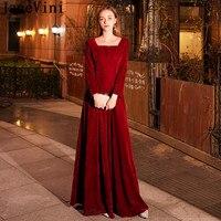 JaneVini Arabic Burgundy Dresses Long Sleeve Velvet Ladies Elegant Prom Dress Women Zipper Back Wedding Party Dress Dinner 2019