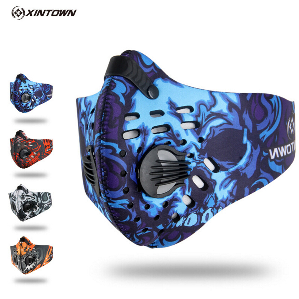 XINTOWN Men/Women Activated Carbon Dust-proof Cycling Face Mask Anti-Pollution Bicycle Bike Outdoor Training mask face shield(China)