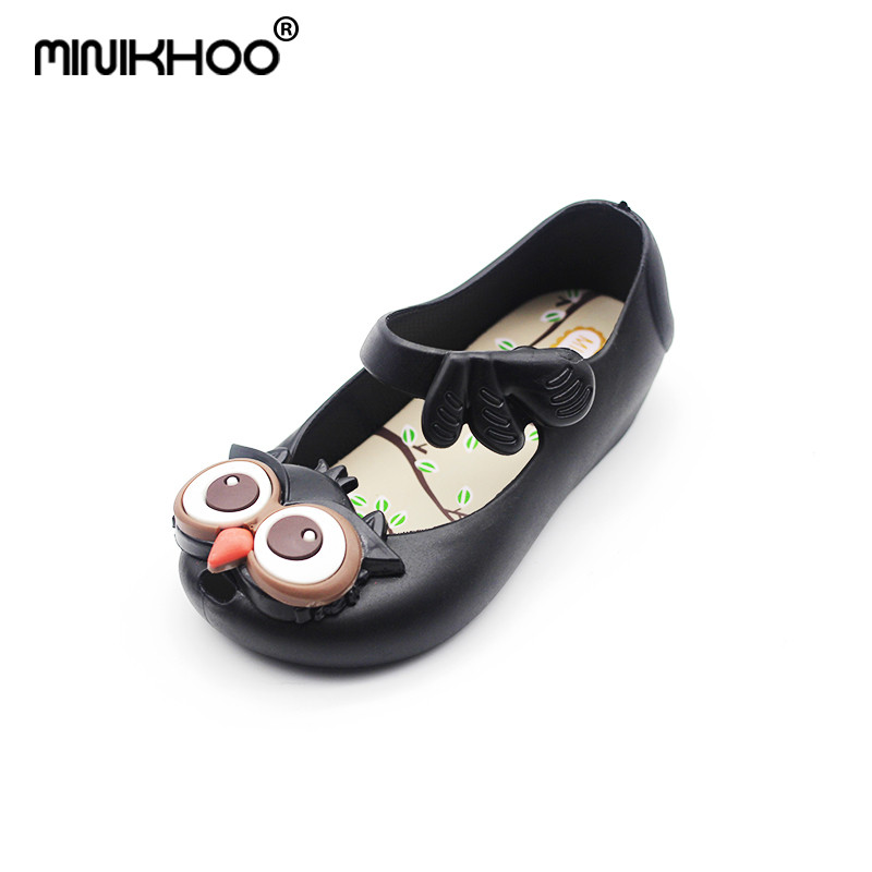 Mini Melissa 2018 NEW Black Owl Jelly Sandals Girl Sandals Baby Shoes Girls Beach Sandals Girl Cute Sandals Non-slip 13cm-16.5cm