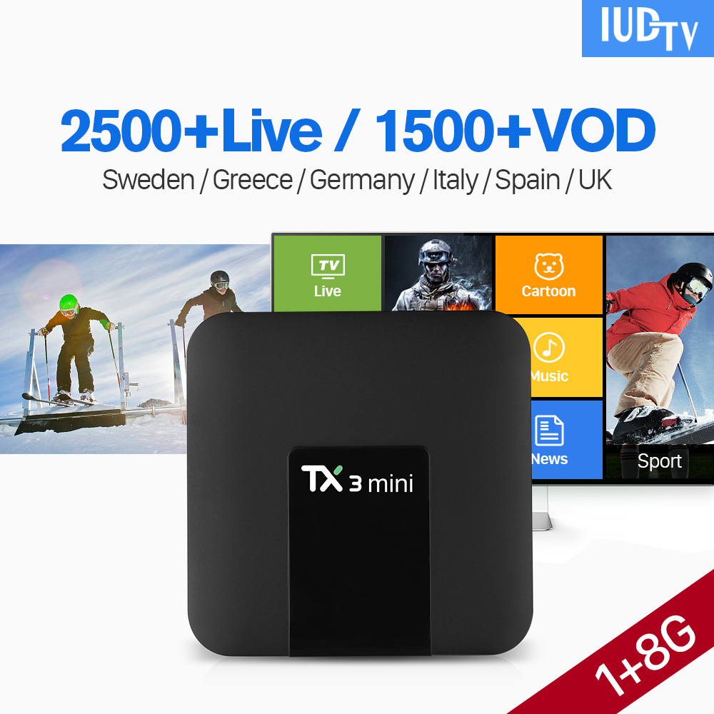 IPTV Spain TX3 MINI Android 7.1 TV Box with IPTV 1 Year IUDTV Subscription Germany Norway Denmark Spain Italy Sweden IPTV Box