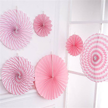 6pcs Hanging Flower Paper Crafts paper fan backdrop decoration flower wedding birthday Baby Shower party DIY decor Supplies